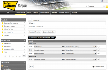 Richmond Tigers @ Interwetten Bookmaker