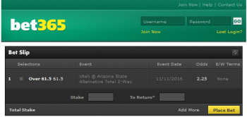 Arizona State @ Bet365 Bookmaker