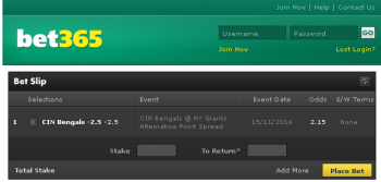 CIN Bengals @ Bet365 Bookmaker