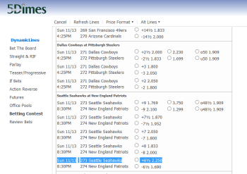 Seattle Seahawks @ 5Dimes Bookmaker