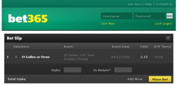 St Gallen @ Bet365 Bookmaker