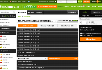 Milwaukee Bucks @ StanJames Bookmaker