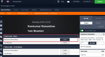 Ramkumar Ramanthan @ Pinnacle Bookmaker