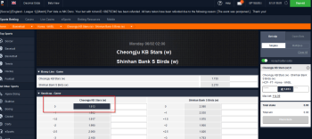 Cheongju KB Stars (w) @ Pinnacle Bookmaker