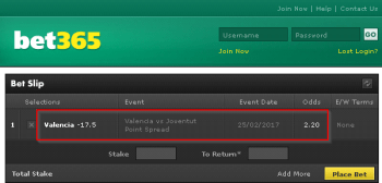Valencia @ Bet365 Bookmaker