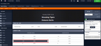 Straubing Tigers @ Pinnacle Bookmaker