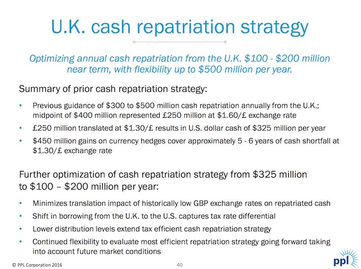 PPL UK Cash Repatriation Strategy