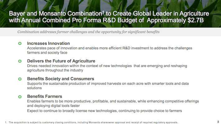 MON Bayer and Monsanto Combination to Create Global Leader in Agriculture With Annual Combined Pro Forma R&D Budget of Approximately $2.7B