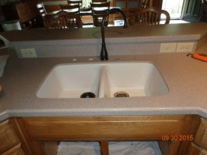 kitchen countertop, corian countertops,corian, stainless steel, sink replacement, sink upgrade, home remodel, kitchen, glacier white, stainless steel, corian replacement, sink, sink stain, outdated sink, old sink