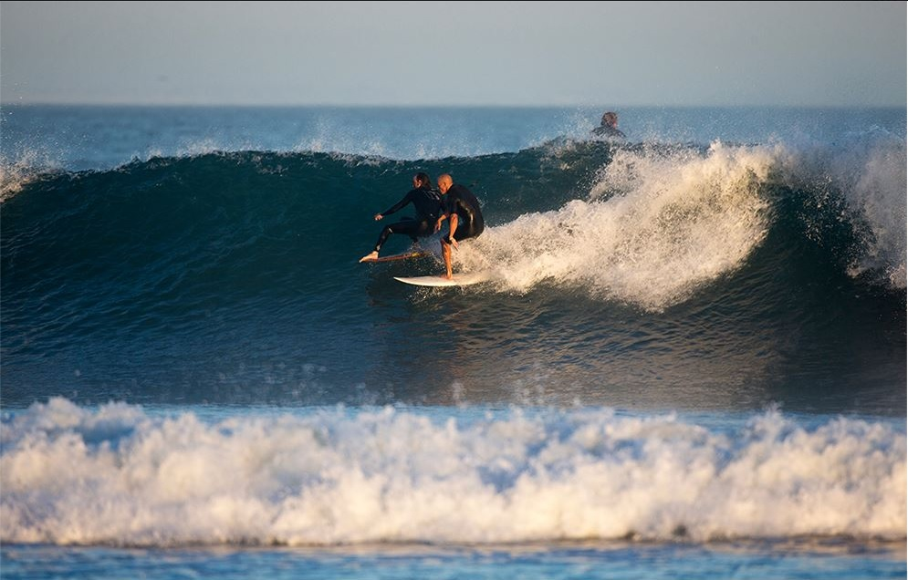 Kelly Slater getting burned at Malibu during Hurricane Marie