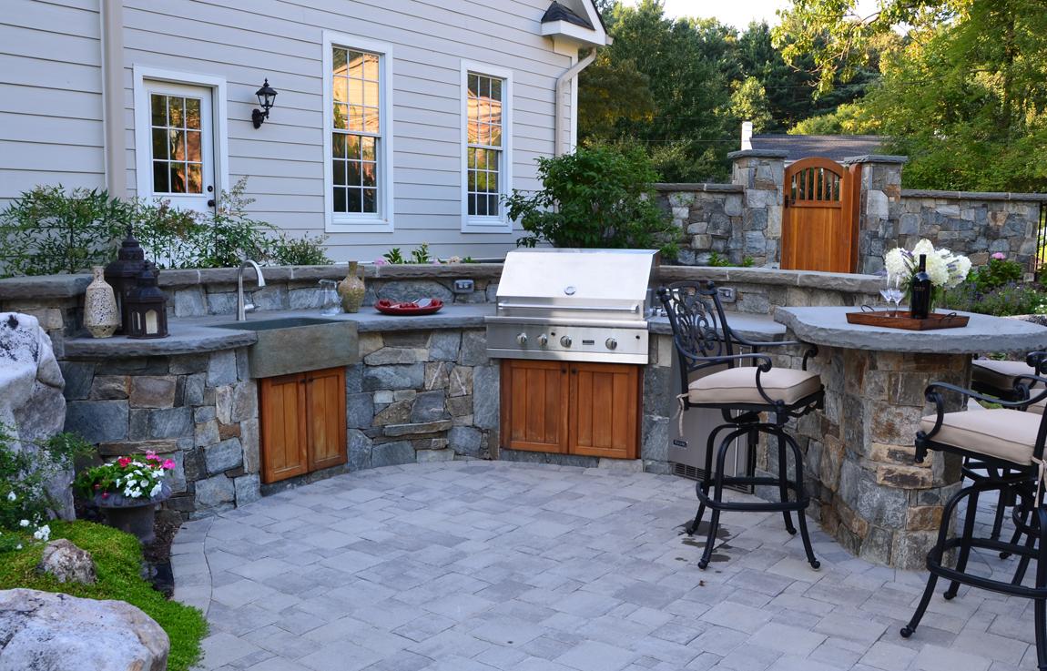 outdoor kitchen design essentials stone kitchen sink open air outdoor kitchen with stone farm house sink