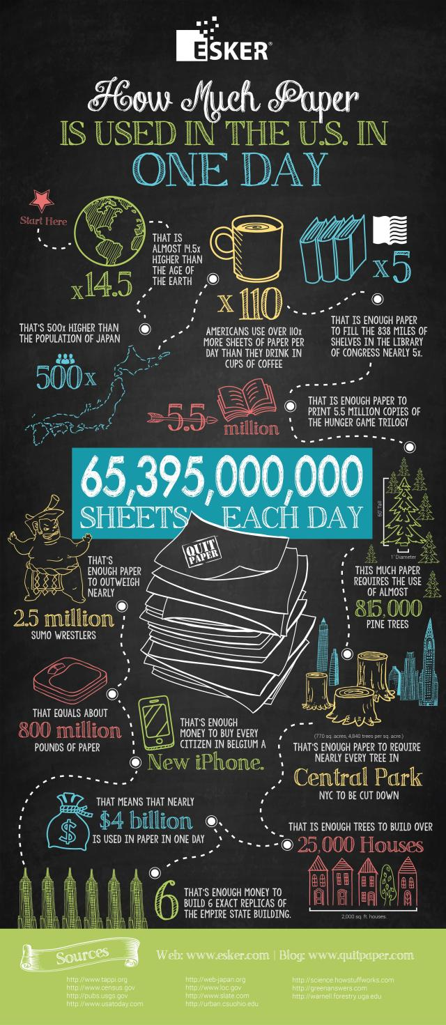 {Infographic} How Much Paper Is Used In USA In 1 Day - Environmental Effects