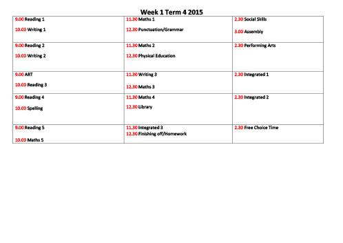 Sample weekly timetable 1 \u2013 Surviving and Thriving
