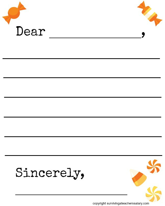 FREE Fall Candy Themed Letter Template Printable - Surviving A - Free Printable Templates For Teachers
