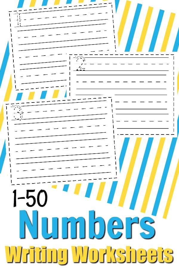 Free Math Printable Writing Numbers 1-50 Writing Worksheets