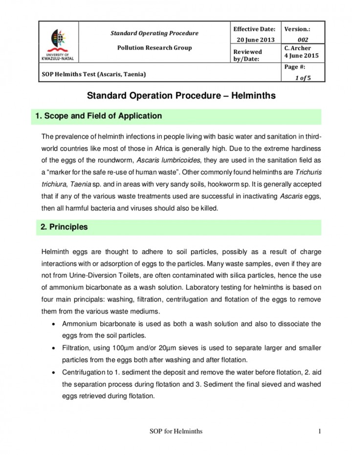 Standard Operating Procedure (SOP) helminth tests (Ascaris - why sop is used