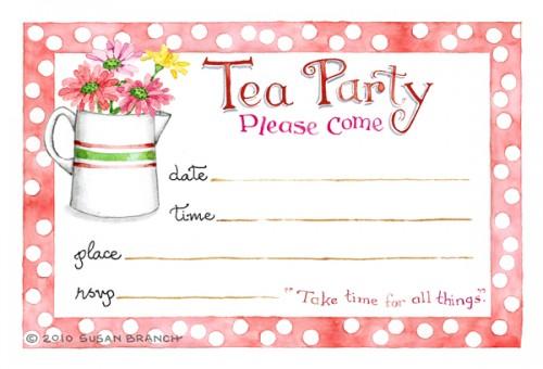 Tea Party Invitation Susan Branch Blog - tea party invitation