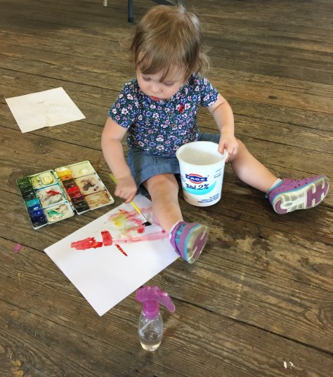 Meredith has her first painting studio space, age  18 months
