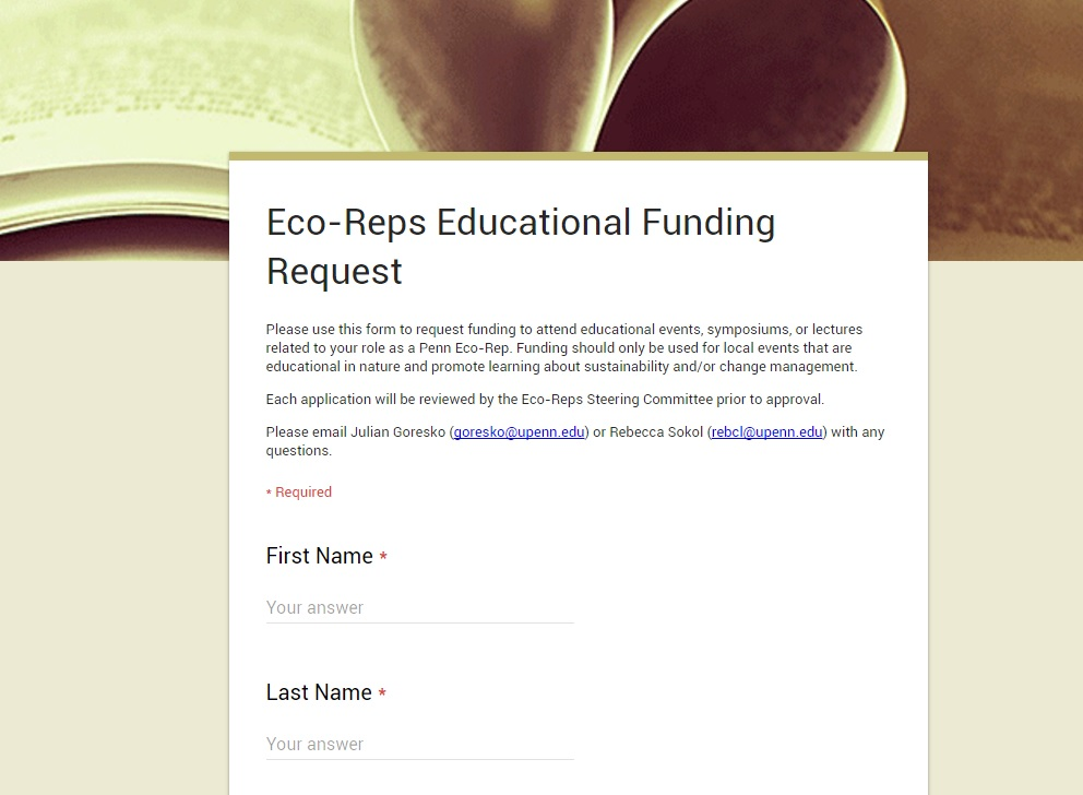 Staff and Faculty Eco-Reps Resources Penn Sustainability - funding request form