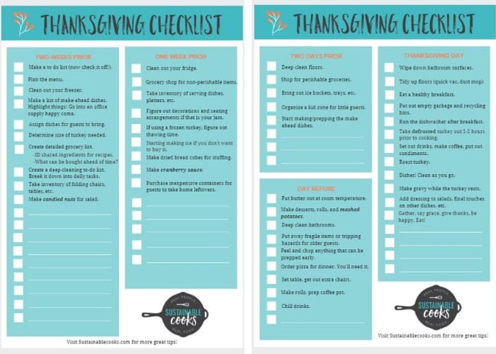 Thanksgiving Checklist {Free Printable} Sustainable Cooks
