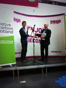 Daniel Bye receives the 2013 award for Sustainable Production from Creative Carbon Scotland's Ben Twist.