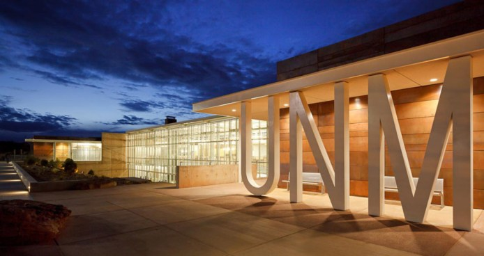 Courtesy of Kirk Gittings The UNM initials serving as support columns is a signature detail of the technology center and classroom building on the Gallup campus.  rmetcalf@abqjournal.com Tue Sep 17 11:07:14 -0600 2013 1379437633 FILENAME: 159191.jpg