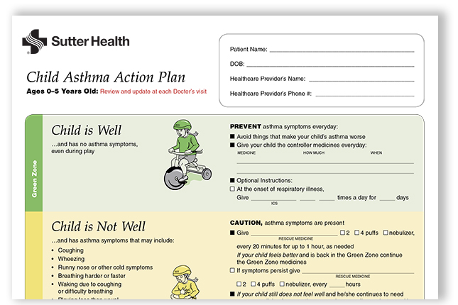 Child Asthma Action Plan (0-5) Sutter Health efficiencyexperts - sample asthma action plan