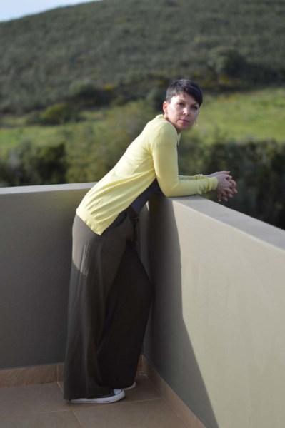 Khaki wide legged pants9