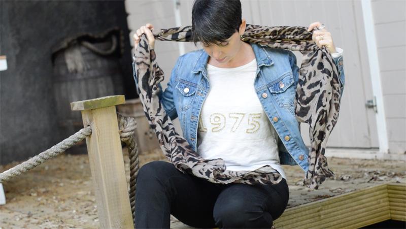 Denim jacket, black trousers and animal print6