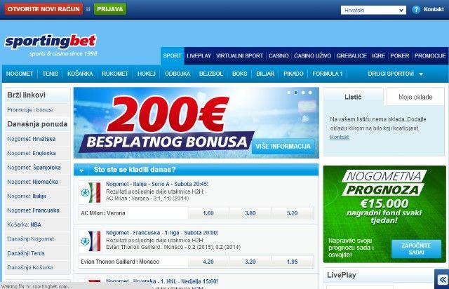 sportingbet kladionica 200e bonus za kladjenje