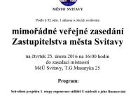 Mimořádné zasedání zastupitelstva města Svitavy – 25.2.2016