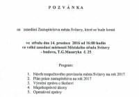 Přímý přenos: Zastupitelstvo města Svitavy – 14.12.2016