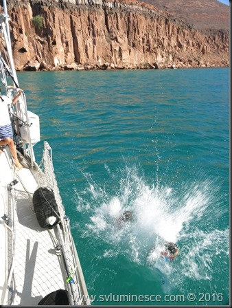 Jumping off the side of boat