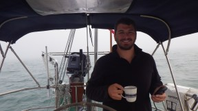Logan with a morning cup of joe