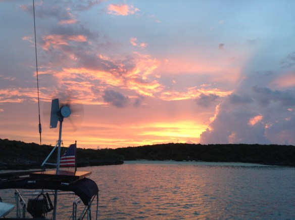 Fiery sunrise at Cave Cay anchorage