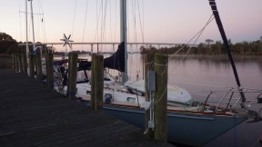 Tied up to the Pungo Ferry Marina dock