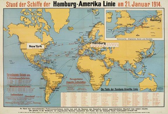 MÜHLMEISTER  JOHLER -Stand der Schiffe der Hamburg - Amerika Linie - amerika haritasi