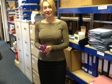 Housing Lawyer, Swain & Co Solicitors presents Tina Smith with paperweight on qualifying as solicitor on 1st Marcha