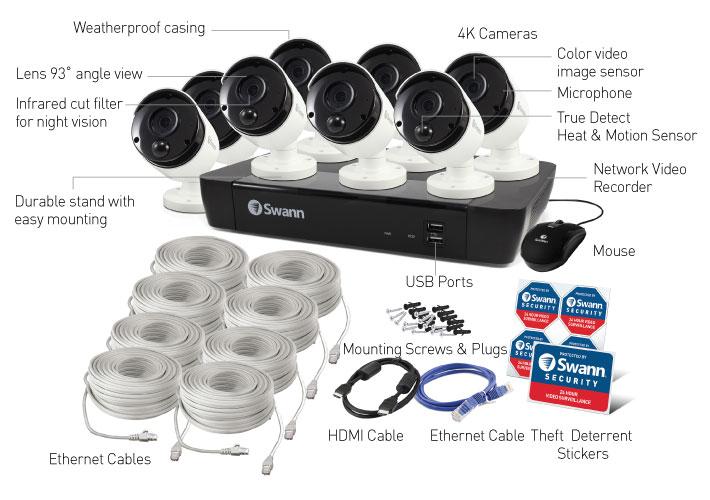 8 Camera 8 Channel 4K Ultra HD NVR Security System Swann