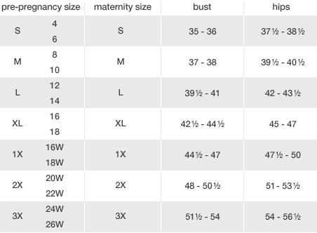 Duo Maternity Size Chart Swap - The Largest Consignment and
