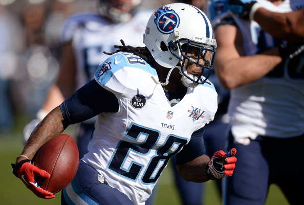 OAKLAND, CA - NOVEMBER 24:  Chris Johnson #28 of the Tennessee Titans warms up during pre-game warm ups prior to playing the Oakland Raiders at O.co Coliseum on November 24, 2013 in Oakland, California.  (Photo by Thearon W. Henderson/Getty Images)