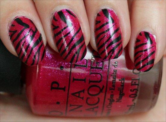 Nail Art Pink Black Zebra Nails Using Konad Image Plate