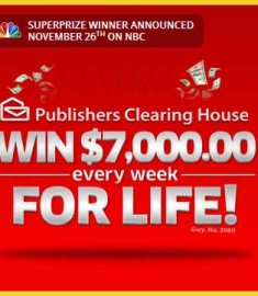 Publishers Clearing House Win 7000 for Life Sweepstakes