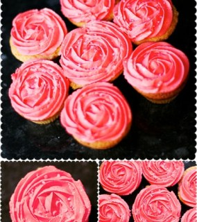 Valentine's Pink Rose Buttercream Swirl Vanilla Cupcakes – Made with Love