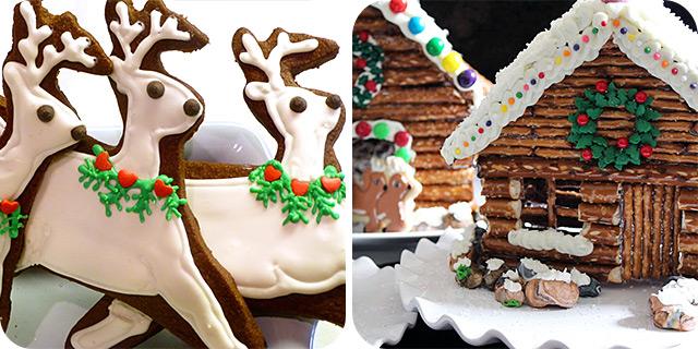 Chocolate Sugar Cookies & Decorated Pretzel Cabins