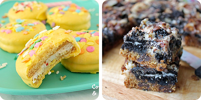 Bite Sized Birthday Cakes (Birthday Cake Oreos) | Slutty Cheesecake Bars