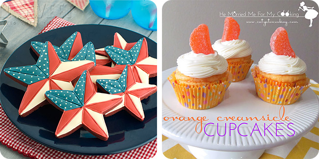 Patriotic Barn Star Cookies | Orange Creamsicle Cupcakes