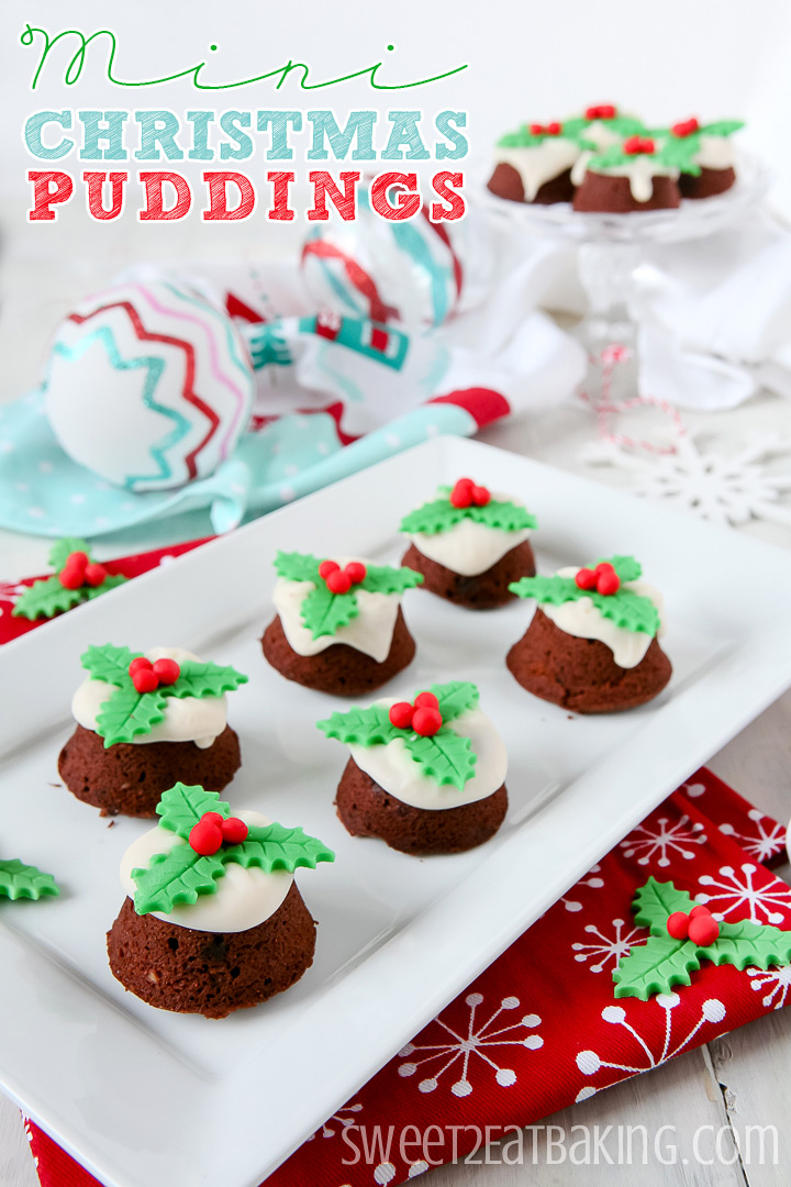 Mini Christmas Puddings by Sweet2EatBaking.com