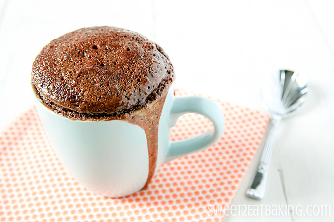 Chocolate & Peanut Butter Mug Cake by Sweet2EatBaking.com