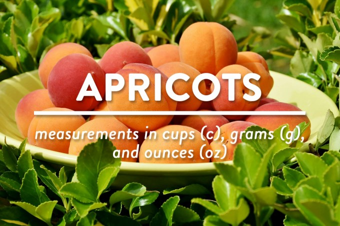 Apricots - Measurements in cups (c), grams (g), and ounces (oz) by Sweet2EatBaking.com